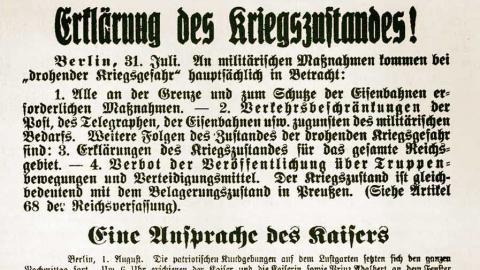 """Extra-Ausgabe der Uetersener Nachrichten von Sonnabend den 1. August 1914 """"Erklärung des Kriegszustandes!""""."""