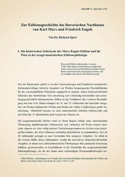 Editionsgeschichte des literarischen Nachlasses von Karl Marx und Friedrich Engels